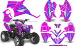 Polaris Outlaw 90 Graphics Kit SpeedX Blue Pink 150x90 - Polaris Outlaw 90/110 2002-2016 Graphics