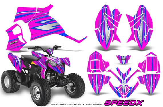 Polaris Outlaw 90 Graphics Kit SpeedX Blue Pink 570x376 - Polaris Outlaw 90/110 2002-2016 Graphics