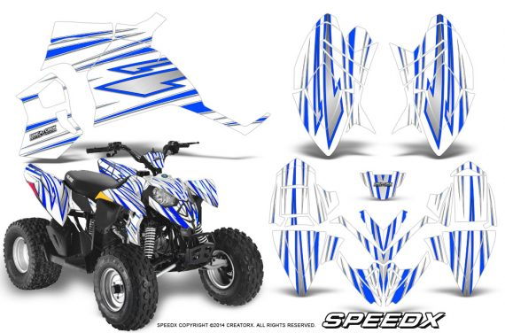 Polaris Outlaw 90 Graphics Kit SpeedX Blue White 570x376 - Polaris Outlaw 90/110 2002-2016 Graphics