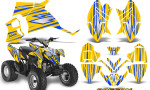 Polaris Outlaw 90 Graphics Kit SpeedX Blue Yellow 150x90 - Polaris Outlaw 90/110 2002-2016 Graphics