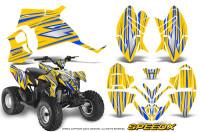 Polaris-Outlaw-90-Graphics-Kit-SpeedX-Blue-Yellow