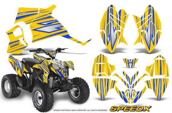 Polaris Outlaw 90 Graphics Kit SpeedX Blue Yellow 570x376 - Polaris Outlaw 90/110 2002-2016 Graphics