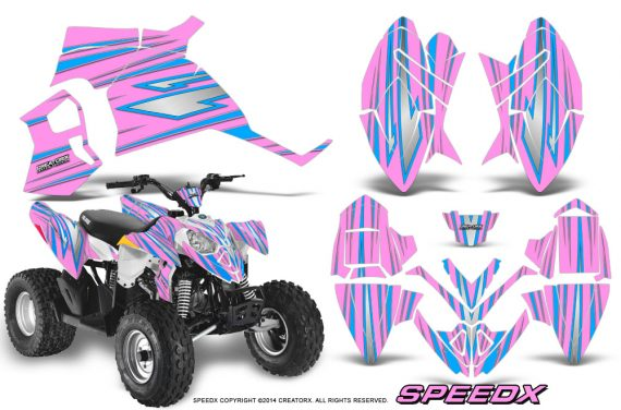 Polaris Outlaw 90 Graphics Kit SpeedX BlueIce PinkLite 570x376 - Polaris Outlaw 90/110 2002-2016 Graphics