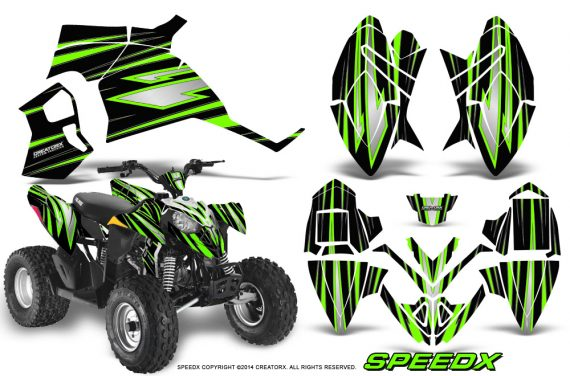 Polaris Outlaw 90 Graphics Kit SpeedX Green Black 570x376 - Polaris Outlaw 90/110 2002-2016 Graphics
