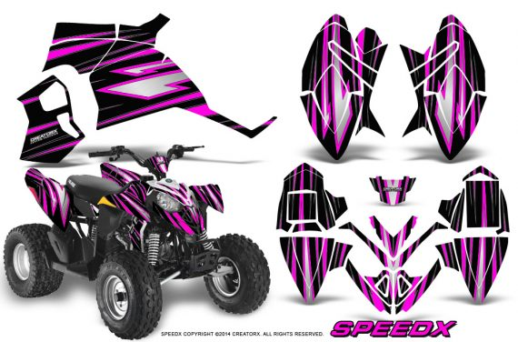 Polaris Outlaw 90 Graphics Kit SpeedX Pink Black 570x376 - Polaris Outlaw 90/110 2002-2016 Graphics