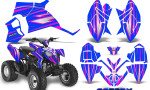 Polaris Outlaw 90 Graphics Kit SpeedX Pink Blue 150x90 - Polaris Outlaw 90/110 2002-2016 Graphics