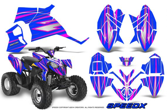 Polaris Outlaw 90 Graphics Kit SpeedX Pink Blue 570x376 - Polaris Outlaw 90/110 2002-2016 Graphics