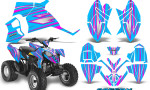 Polaris Outlaw 90 Graphics Kit SpeedX Pink BlueIce 150x90 - Polaris Outlaw 90/110 2002-2016 Graphics