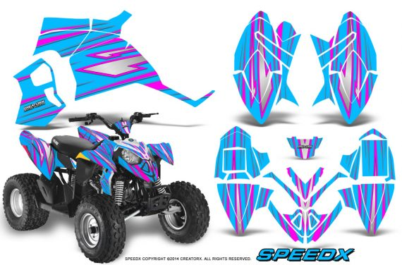 Polaris Outlaw 90 Graphics Kit SpeedX Pink BlueIce 570x376 - Polaris Outlaw 90/110 2002-2016 Graphics