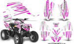 Polaris Outlaw 90 Graphics Kit SpeedX Pink White 150x90 - Polaris Outlaw 90/110 2002-2016 Graphics