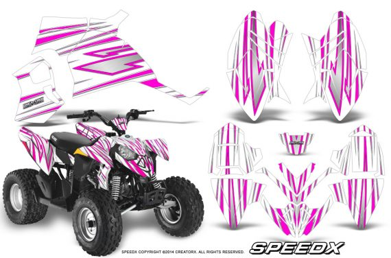 Polaris Outlaw 90 Graphics Kit SpeedX Pink White 570x376 - Polaris Outlaw 90/110 2002-2016 Graphics
