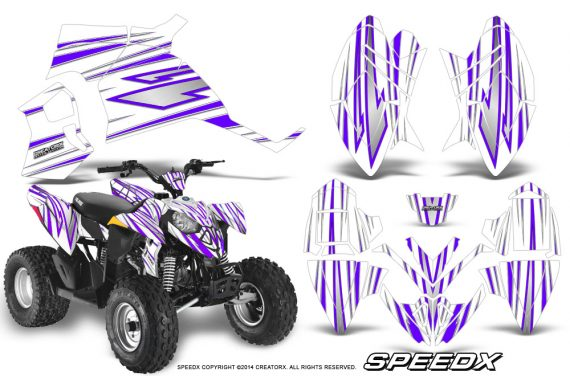 Polaris Outlaw 90 Graphics Kit SpeedX Purple White 570x376 - Polaris Outlaw 90/110 2002-2016 Graphics