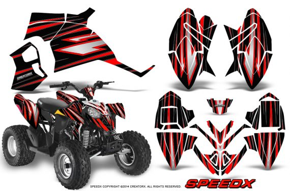 Polaris Outlaw 90 Graphics Kit SpeedX Red Black 570x376 - Polaris Outlaw 90/110 2002-2016 Graphics