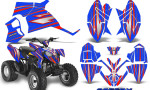 Polaris Outlaw 90 Graphics Kit SpeedX Red Blue 150x90 - Polaris Outlaw 90/110 2002-2016 Graphics