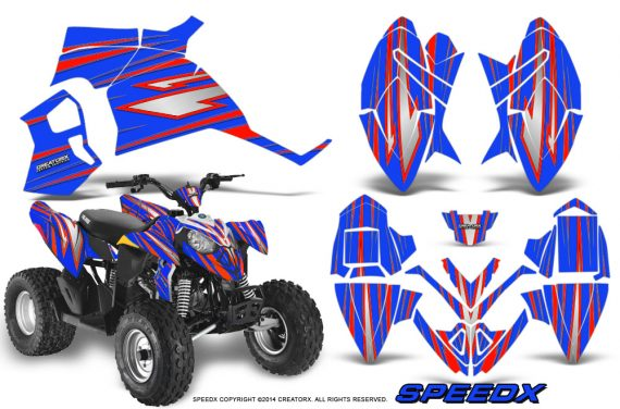 Polaris Outlaw 90 Graphics Kit SpeedX Red Blue 570x376 - Polaris Outlaw 90/110 2002-2016 Graphics