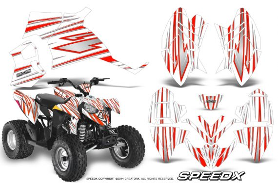 Polaris Outlaw 90 Graphics Kit SpeedX Red White 570x376 - Polaris Outlaw 90/110 2002-2016 Graphics