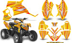 Polaris Outlaw 90 Graphics Kit SpeedX Red Yellow 150x90 - Polaris Outlaw 90/110 2002-2016 Graphics