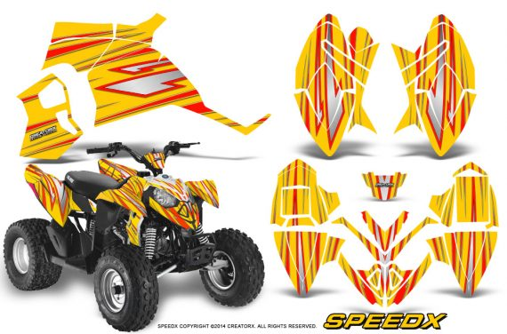 Polaris Outlaw 90 Graphics Kit SpeedX Red Yellow 570x376 - Polaris Outlaw 90/110 2002-2016 Graphics
