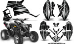 Polaris Outlaw 90 Graphics Kit SpeedX Silver Black 150x90 - Polaris Outlaw 90/110 2002-2016 Graphics