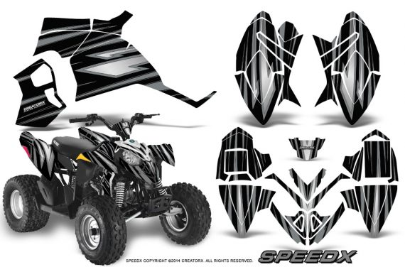 Polaris Outlaw 90 Graphics Kit SpeedX Silver Black 570x376 - Polaris Outlaw 90/110 2002-2016 Graphics