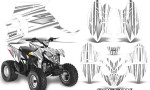 Polaris Outlaw 90 Graphics Kit SpeedX Silver White 150x90 - Polaris Outlaw 90/110 2002-2016 Graphics