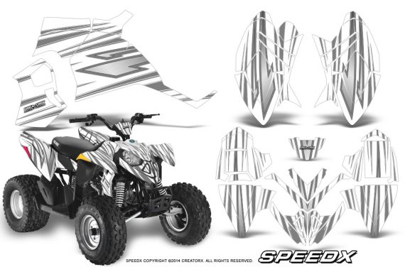 Polaris Outlaw 90 Graphics Kit SpeedX Silver White 570x376 - Polaris Outlaw 90/110 2002-2016 Graphics