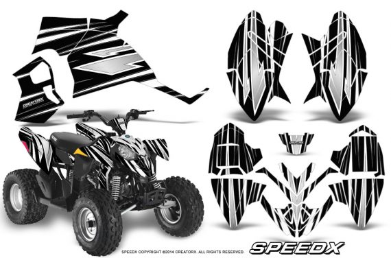 Polaris Outlaw 90 Graphics Kit SpeedX White Black 570x376 - Polaris Outlaw 90/110 2002-2016 Graphics
