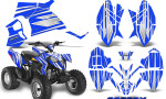 Polaris Outlaw 90 Graphics Kit SpeedX White Blue 150x90 - Polaris Outlaw 90/110 2002-2016 Graphics