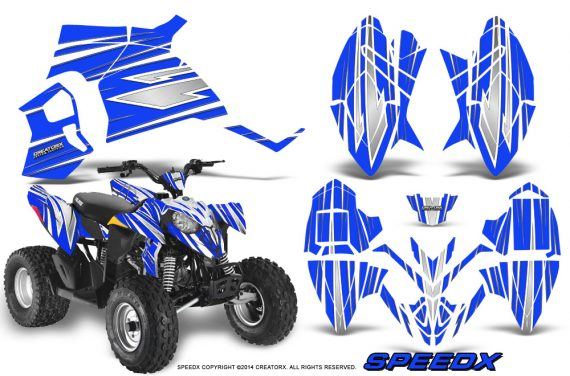 Polaris Outlaw 90 Graphics Kit SpeedX White Blue 570x376 - Polaris Outlaw 90/110 2002-2016 Graphics