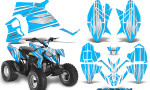 Polaris Outlaw 90 Graphics Kit SpeedX White BlueIce 150x90 - Polaris Outlaw 90/110 2002-2016 Graphics