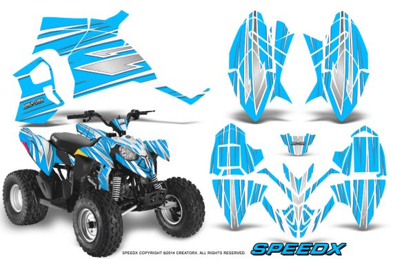 Polaris Outlaw 90 Graphics Kit SpeedX White BlueIce 570x376 - Polaris Outlaw 90/110 2002-2016 Graphics