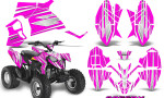 Polaris Outlaw 90 Graphics Kit SpeedX White Pink 150x90 - Polaris Outlaw 90/110 2002-2016 Graphics