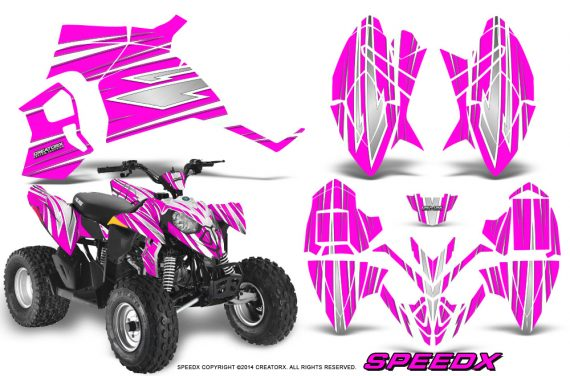 Polaris Outlaw 90 Graphics Kit SpeedX White Pink 570x376 - Polaris Outlaw 90/110 2002-2016 Graphics