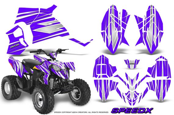 Polaris Outlaw 90 Graphics Kit SpeedX White Purple 570x376 - Polaris Outlaw 90/110 2002-2016 Graphics