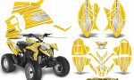Polaris Outlaw 90 Graphics Kit SpeedX White Yellow 150x90 - Polaris Outlaw 90/110 2002-2016 Graphics