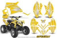 Polaris-Outlaw-90-Graphics-Kit-SpeedX-White-Yellow