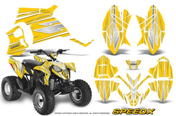 Polaris Outlaw 90 Graphics Kit SpeedX White Yellow 570x376 - Polaris Outlaw 90/110 2002-2016 Graphics