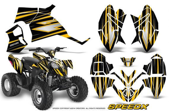 Polaris Outlaw 90 Graphics Kit SpeedX Yellow Black 570x376 - Polaris Outlaw 90/110 2002-2016 Graphics