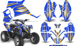 Polaris Outlaw 90 Graphics Kit SpeedX Yellow Blue 150x90 - Polaris Outlaw 90/110 2002-2016 Graphics