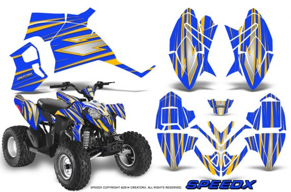 Polaris Outlaw 90 Graphics Kit SpeedX Yellow Blue 570x376 - Polaris Outlaw 90/110 2002-2016 Graphics