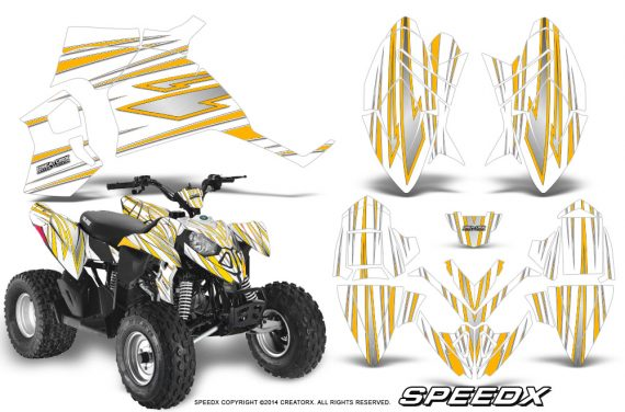 Polaris Outlaw 90 Graphics Kit SpeedX Yellow White 570x376 - Polaris Outlaw 90/110 2002-2016 Graphics