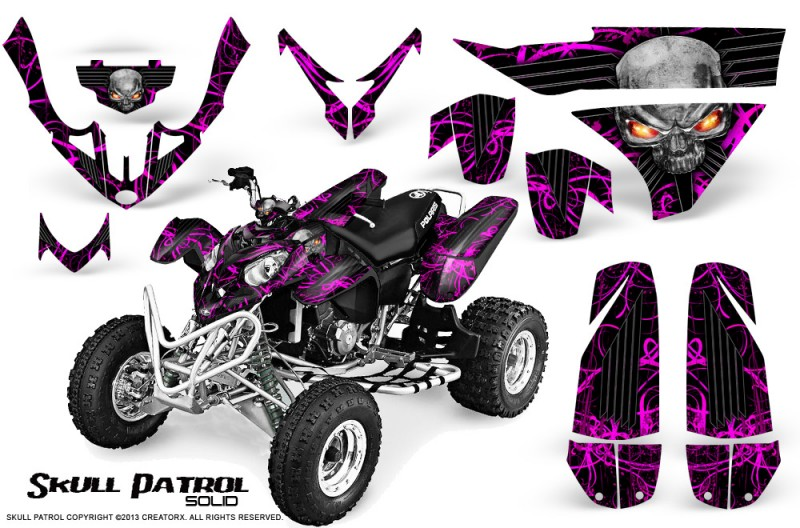 Polaris-Predator-500-CreatorX-Graphics-Kit-Skull-Patrol-Solid-Pink-Black