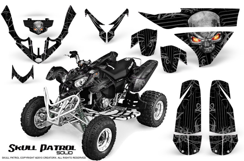 Polaris-Predator-500-CreatorX-Graphics-Kit-Skull-Patrol-Solid-Silver-Black