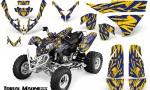 Polaris Predator 500 CreatorX Graphics Kit Tribal Madness Blue Yellow 150x90 - Polaris Predator 500 Graphics