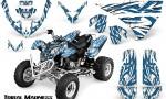 Polaris Predator 500 CreatorX Graphics Kit Tribal Madness BlueIce White 150x90 - Polaris Predator 500 Graphics