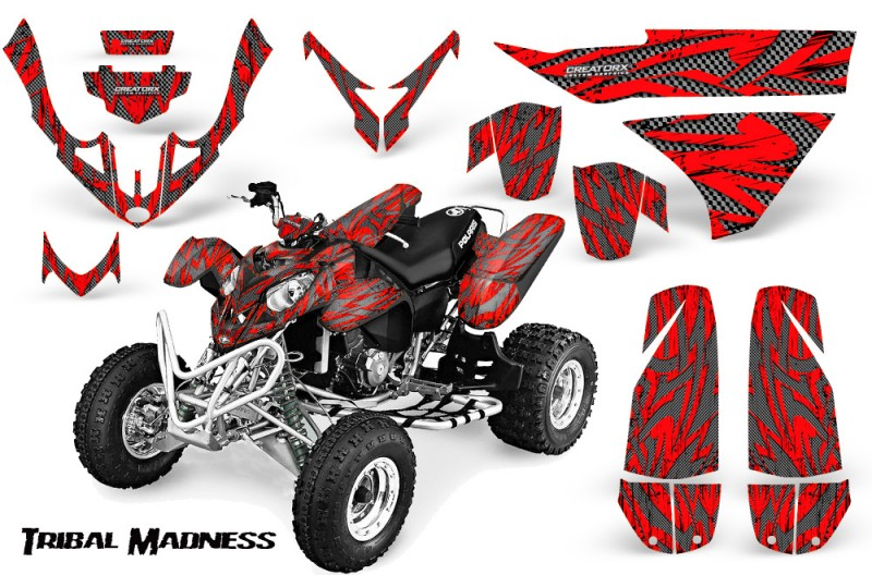 Polaris-Predator-500-CreatorX-Graphics-Kit-Tribal-Madness-Silver-Red