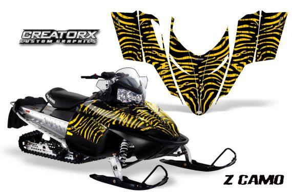 Polaris RMK Shift Chassis CreatorX Graphics Kit ZCamo Yellow 570x376 - Polaris Shift RMK Switchback Assult Graphics