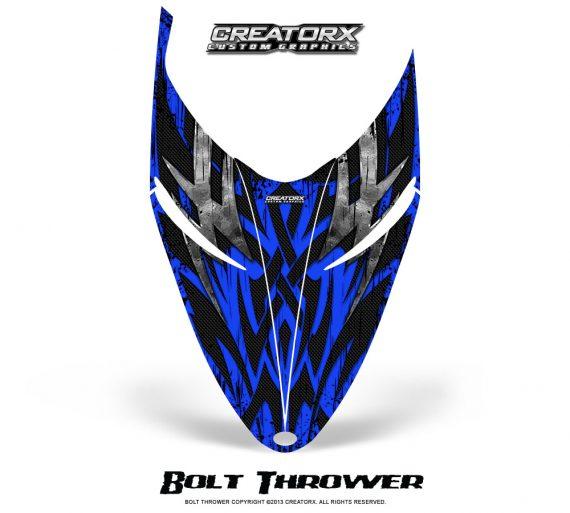 Polaris RMK Shift Hood CreatorX Graphics Kit Bolt Thrower Blue 570x513 - Polaris Shift RMK Switchback Assult Hood Graphics