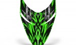 Polaris RMK Shift Hood CreatorX Graphics Kit Bolt Thrower Green 150x90 - Polaris Shift RMK Switchback Assult Hood Graphics