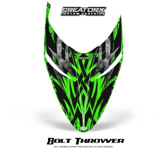 Polaris RMK Shift Hood CreatorX Graphics Kit Bolt Thrower Green 570x513 - Polaris Shift RMK Switchback Assult Hood Graphics